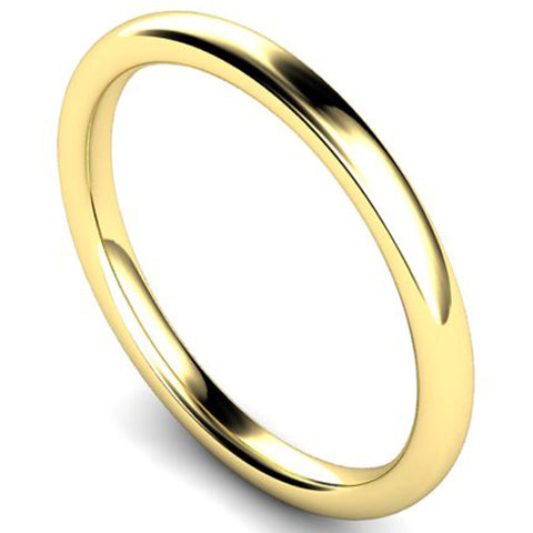 Slight court profile wedding ring in yellow gold, 2mm width