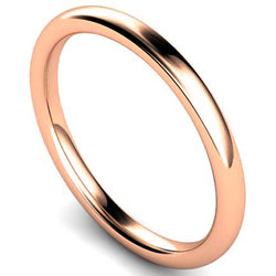 Slight court profile wedding ring in rose gold, 2mm width