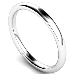 Slight court profile wedding ring in platinum, 2mm width