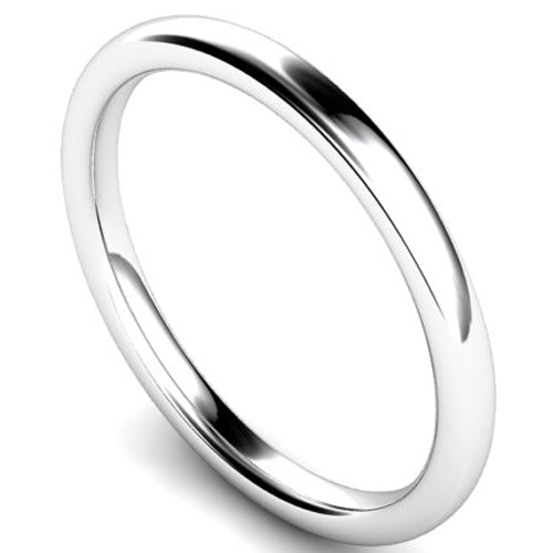 Slight court profile wedding ring in white gold, 2mm width