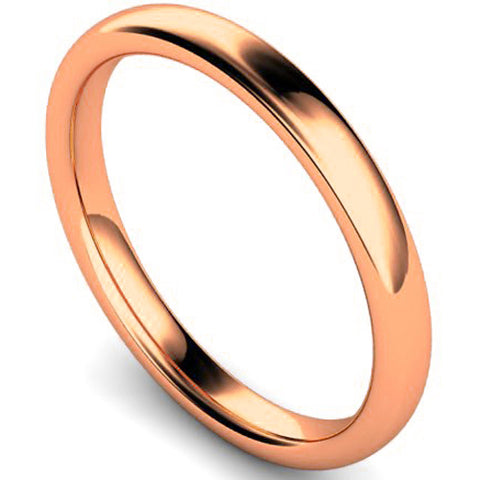 Slight court profile wedding ring in rose gold, 2.5mm width