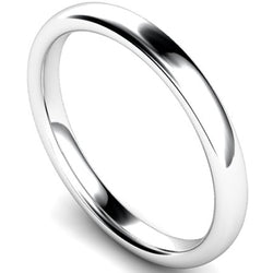 Slight court profile wedding ring in palladium, 2.5mm width