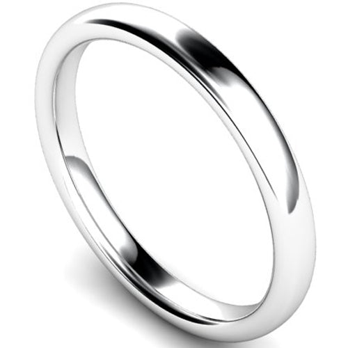 Slight court profile wedding ring in platinum, 2.5mm width