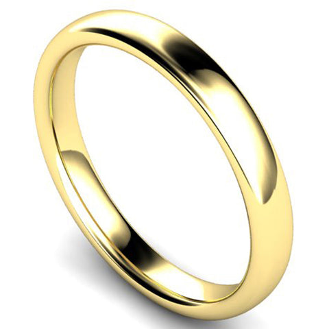 Slight court profile wedding ring in yellow gold, 3mm width