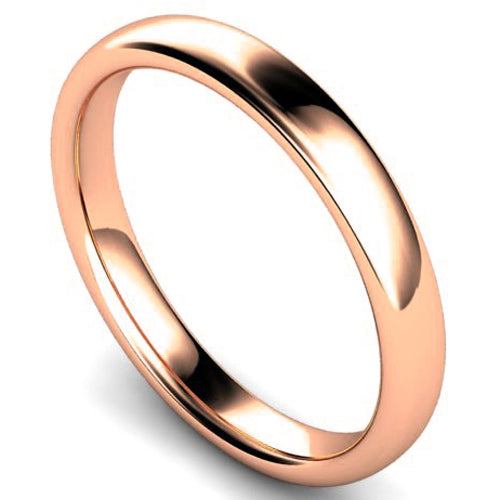 Slight court profile wedding ring in rose gold, 3mm width