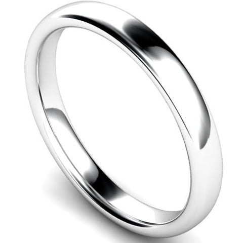 Slight court profile wedding ring in white gold, 3mm width