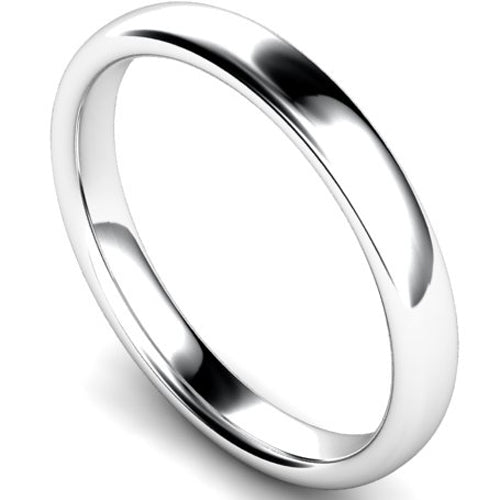 Slight court profile wedding ring in platinum, 3mm width