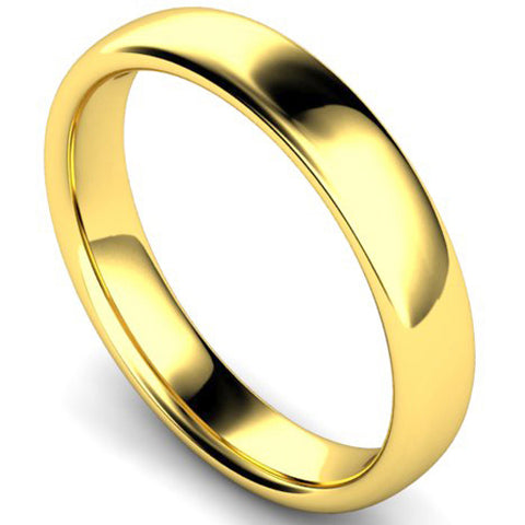 Slight court profile wedding ring in yellow gold, 4mm width