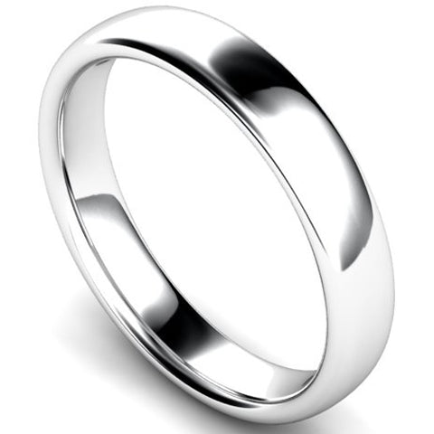 Slight court profile wedding ring in palladium, 4mm width