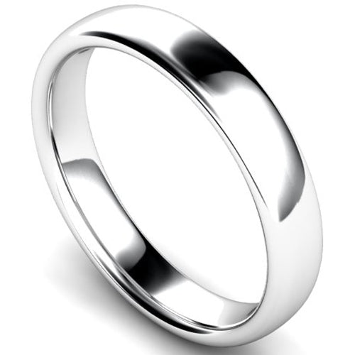 Slight court profile wedding ring in platinum, 4mm width