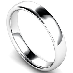 Slight court profile wedding ring in white gold, 4mm width