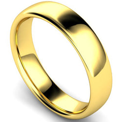 Slight court profile wedding ring in yellow gold, 5mm width