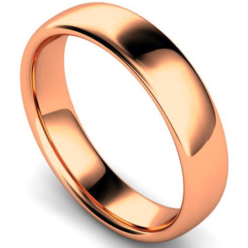 Slight court profile wedding ring in rose gold, 5mm width