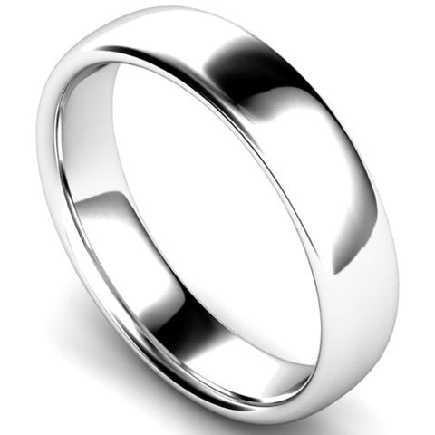 Slight court profile wedding ring in platinum, 5mm width