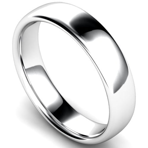 Slight court profile wedding ring in white gold, 5mm width