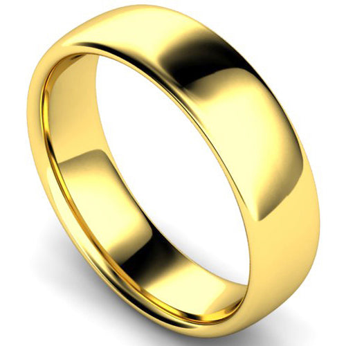 Slight court profile wedding ring in yellow gold, 6mm widith