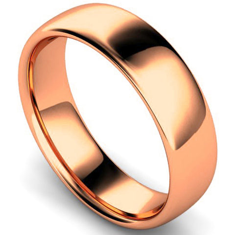 Slight court profile wedding ring in rose gold, 6mm width