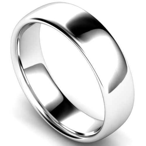 Slight court profile wedding ring in white gold, 6mm width