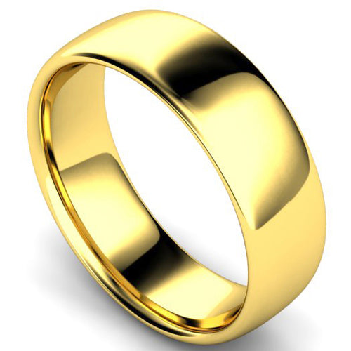 Slight court profile wedding ring in yellow gold, 7mm width