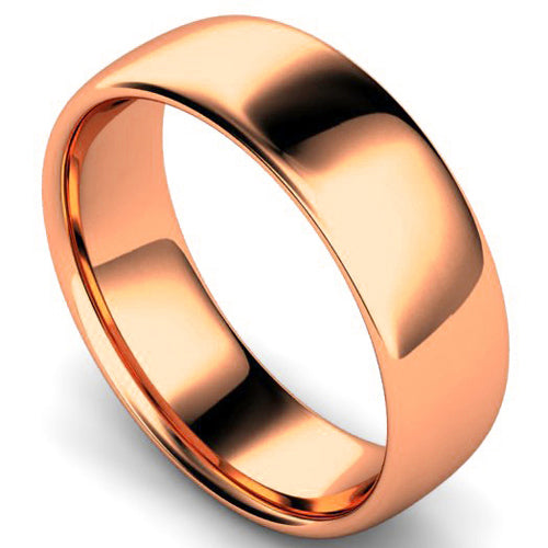 Slight court profile wedding ring in rose gold, 7mm width