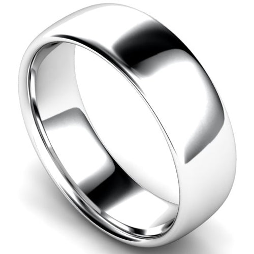 Slight court profile wedding ring in white gold, 7mm width