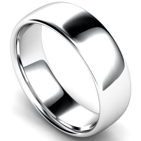 Slight court profile wedding ring in platinum, 7mm width