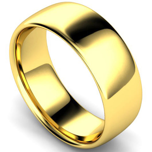 Slight court profile wedding ring in yellow gold, 8mm width