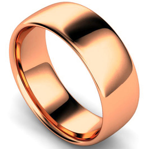 Slight court profile wedding ring in rose gold, 8mm width