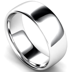 Slight court profile wedding ring in white gold, 8mm width