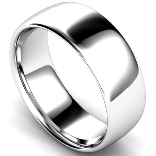 Slight court profile wedding ring in platinum, 8mm width