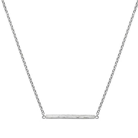 Hammered finish 'stick' necklace in 9ct white gold