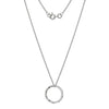 Hammered finish open circle pendant and chain in 9ct white gold