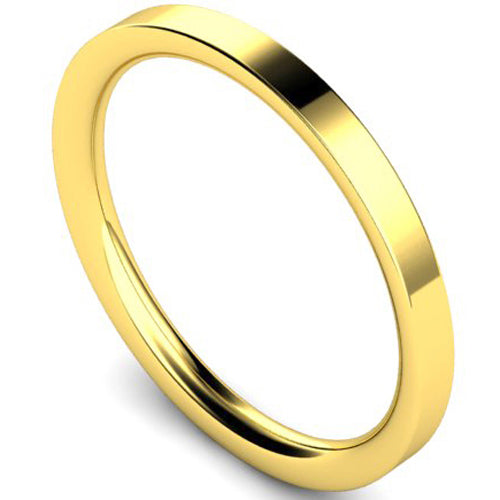 Flat court profile wedding ring in yellow gold, 2mm width
