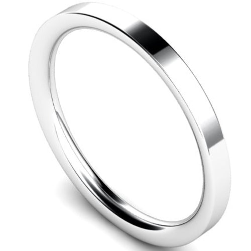 Flat court profile wedding ring in palladium, 2mm width
