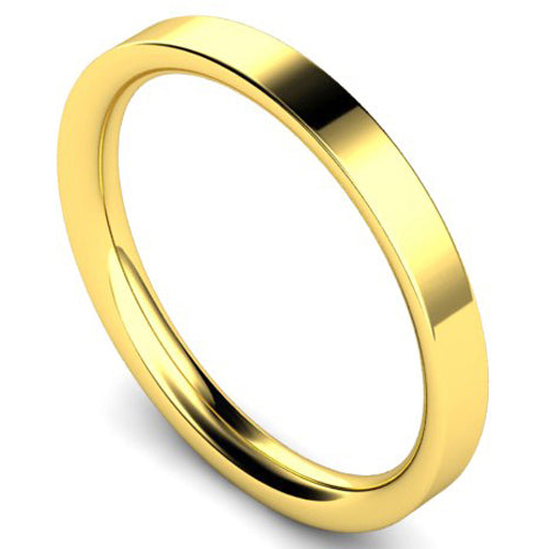 Flat court profile wedding ring in yellow gold, 2.5mm width
