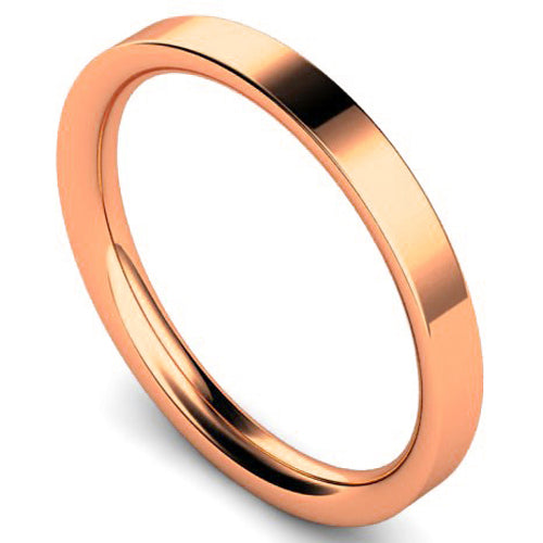 Flat court profile wedding ring in rose gold, 2.5mm width