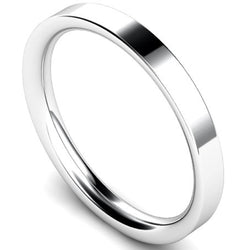 Flat court profile wedding ring in white gold, 2.5mm width
