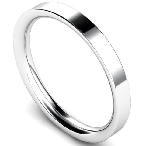Flat court profile wedding ring in platinum, 2.5mm width