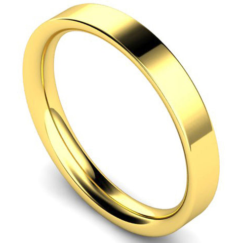 Flat court profile wedding ring in yellow gold, 3mm width