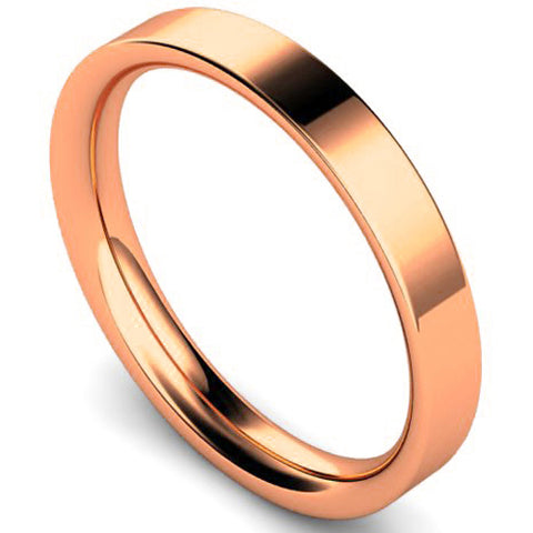 Flat court profile wedding ring in rose gold, 3mm width