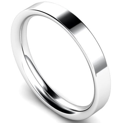 Flat court profile wedding ring in white gold, 3mm width