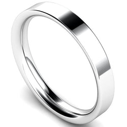 Flat court profile wedding ring in platinum, 3mm width