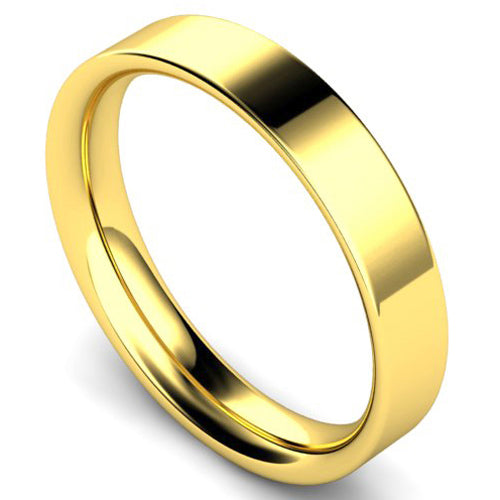 Flat court profile wedding ring in yellow gold, 4mm width