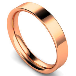 Flat court profile wedding ring in rose gold, 4mm width