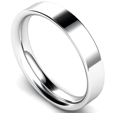 Flat court profile wedding ring in platinum, 4mm width