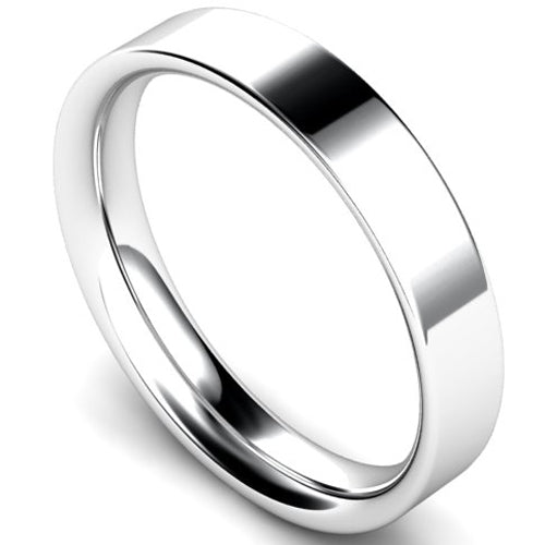 Flat court profile wedding ring in palladium, 4mm width