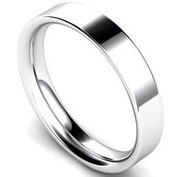 Flat court profile wedding ring in white gold, 4mm width