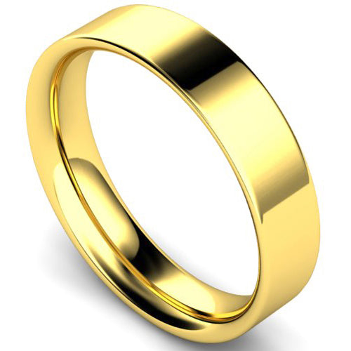 Flat court profile wedding ring in yellow gold, 5mm width