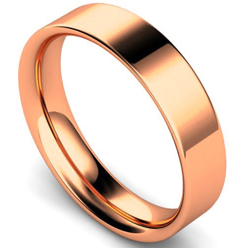 Flat court profile wedding ring in rose gold, 5mm width