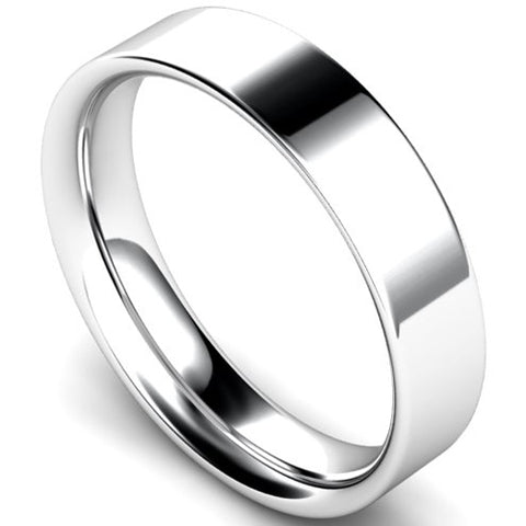 Flat court profile wedding ring in platinum, 5mm width